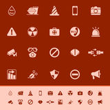 General useful color icons on red background Stock Photo
