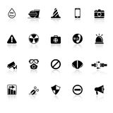 General useful icons with reflect on white background Stock Photos