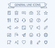 General vector icons set 2. Thin line outline 24x24 Grid.Pixel Perfect Stock Photos