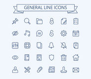 General vector icons set. Thin line outline 24x24 Grid.Pixel Perfect Royalty Free Stock Image