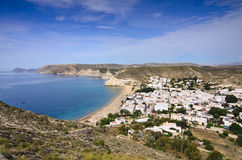 General view of Agua Amarga in Cabo de Gata. Almeria, south Spain, from the top of the hill royalty free stock image