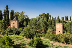 General view of the Alhambra. Granada, Spain on a hot summer day Royalty Free Stock Image