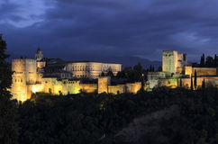 General view of Alhambra seen from Albaicin in Granada, Spain Royalty Free Stock Photo