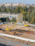 General view of the area in which poured the foundation for the construction of a new high-rise building Royalty Free Stock Images