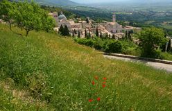 General view of Assisi. In the spring Stock Photography