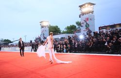 A general view of atmosphere walks the red carpet. Ahead of the `A Star Is Born` screening during the 75th Venice Film Festival at Sala Grande on August 31 royalty free stock photography