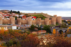 General view of Avila  in autumn. Spain Royalty Free Stock Photography