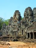 General view of Bayon temple at Angkor Thom in Cambodia Royalty Free Stock Photo