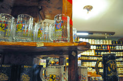 General view of beer cups in a beer store at October Fest in Villa General Belgrano, Cordoba, Argentina Stock Image