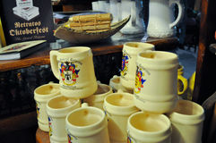 General view of beer cups in a beer store at October Fest in Villa General Belgrano, Cordoba, Argentina Stock Photos