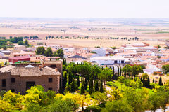 General view of Belmonte with fields. Cuenca, Spain royalty free stock photo