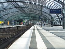 General view on Berlin Central rail terminal. General view on upper level of Berlin Hauptbahnhof terminal. People are waiting for train. Photo taken in 2008 Royalty Free Stock Photos