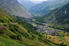 General view of Bonneval-sur-Arc commune in the Savoie department in France. General view of Bonneval-sur-Arc commune in the Savoie department , Auvergne-Rhône Stock Images