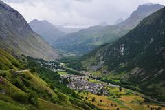 General view of Bonneval-sur-Arc commune in the Savoie department in France. General view of Bonneval-sur-Arc commune in the Savoie department , Auvergne-Rhône Stock Image