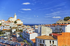 General view of Cadaques and city parking in summer Royalty Free Stock Photography