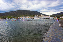 General view of Cadaques quay and harbor in summer Royalty Free Stock Photo