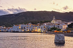General view of Cadaques in summer evening Royalty Free Stock Photography