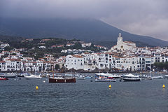 General view of Cadaques in summer stormy weather Stock Photos
