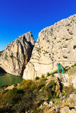 General view of  Caminito del Rey with Railway bridge Royalty Free Stock Photos