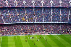 A general view of the Camp Nou Stadium in the football match. BARCELONA - FEB 21: A general view of the Camp Nou Stadium in the football match between Futbol Stock Image