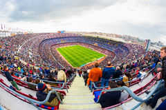 A general view of the Camp Nou Stadium in the football match between Futbol Club Barcelona and Malaga Royalty Free Stock Image