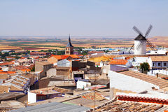 General view of Campo de Criptana. Castilla-La Mancha, Spain stock photos