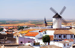 General view of Campo de Criptana with mill and church. Castilla-La Mancha, Spain stock image