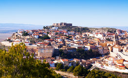 General view of Chinchilla. De Monte-Aragon with castle from hill. Albacete, Spain stock photography