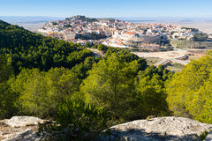 General view of  Chinchilla from hill.  Albacete Royalty Free Stock Images