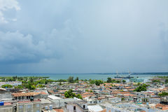 General view of Cienfuegos. Great view to the sea, from Ferrer Palace, Cienfuegos stock images