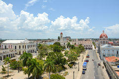 General view of Cienfuegos square. View of Cienfuegos square, full of palms and palm trees stock photos