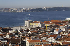 A general view of the city center of Lisbon and Tagus river Royalty Free Stock Image