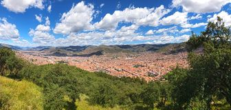 General view of the city of Cuzco, Peru. Panoramic angle depicting city landscape stock image