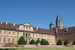 General view of Cluny Abbey, with tower and gardens Royalty Free Stock Photography