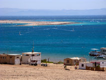 General view of the Dahab's gulf and spit. From the mountains royalty free stock photo