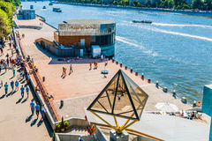 General view of dancing decks on Pushkin embankment of Moscow Go Royalty Free Stock Image