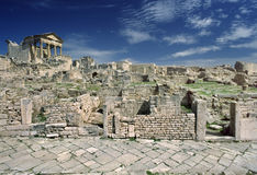 General view of Dougga. Tunisia. Ancient Dougga. There is the Capitolium on left Royalty Free Stock Photography