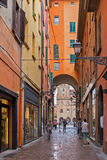 General view of the downtown streets Bologna italy. BOLOGNA, ITALY - 25 JUNE, 2014: General view of the downtown streets Royalty Free Stock Photo