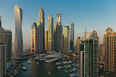 General view of Dubai Marina at twilight from the top Stock Photo