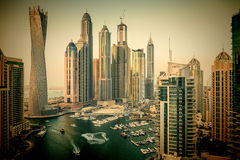 General view of Dubai Marina at twilight from the top. Dubai Marina at Dusk from the top,  In the city of artificial channel length of 3 kilometers along the Stock Photos