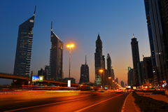 General view of Dubai at night Royalty Free Stock Photos