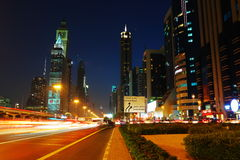 General view of Dubai at night Stock Images
