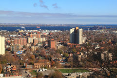 General view East part of Hamilton, Ontario,. Aerial view of East part and industrial park of Hamilton, Ontario, Canada, with Overhead Bridge and Lake Ontario on Royalty Free Stock Photography