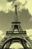 General view of Eiffel tower in Paris with old postcard effect Stock Photography