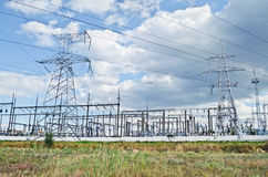 General view on the electric substation in Feodosia Royalty Free Stock Images