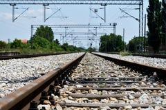 Railroad Tracks. Railway tracks the way forward royalty free stock photos