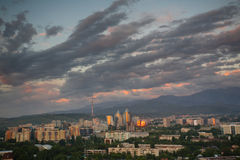 General view of the evening Almaty Stock Photography