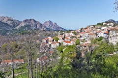 General view of Evisa Village in Corsica Island Stock Photos
