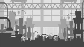 General view of the factory`s industrial premises from the inside. Flat style, gray tones.