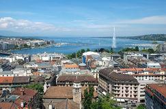 General view of Geneva. The city of Geneva, the Leman Lake and the Water Jet, in Switzerland, Europe, general and aerial view Stock Image